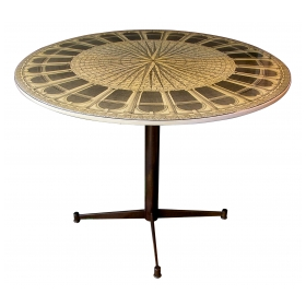 a fine italian mid-century circular center table by piero fornasetti (1913-1988)