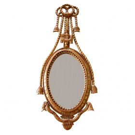 an unusual and slender danish rococo style carved giltwood oval mirror surmounted by an overscaled  crest of ribbons and tassels