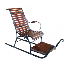 a charming swedish folk art wooden and iron child's sled
