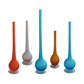 a sleek and multi-colored set of 5 italian 1960's pencil-neck satinato bottle-form vases by Carlo Moretti