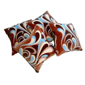 a stylish set of 4 italian 1960's linen velvet panels now mounted as pillows