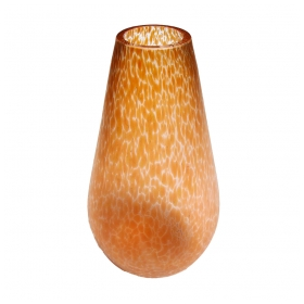 a luminous austrian apricot-colored oil spot vase of teardrop form