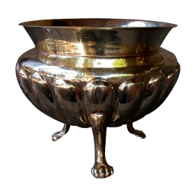 a handsome english georgian style lobed brass urn