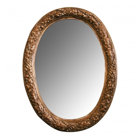 a large scaled and well-carved french louis xvi style carved giltwood oval mirror with laurel leaf motifs