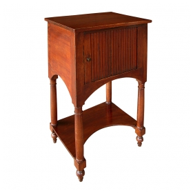 a handsome and useful french provincial faux grained pine square petite cupboard with tambour door