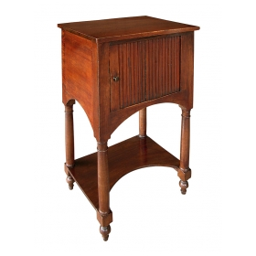 french provincial faux grained square cupboard/end-table with tambour door