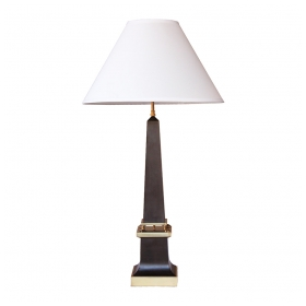 a sleek french 1940's black painted tole obelisk-form lamp with brass mounts