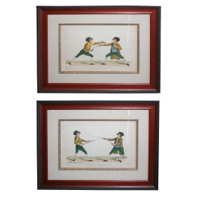 well-rendered and fanciful pair of french hand-colored copper plate engravings of fencing drills