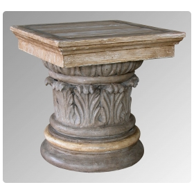 american neoclassical style gray painted and faux bois corinthian column capital plinth or side table