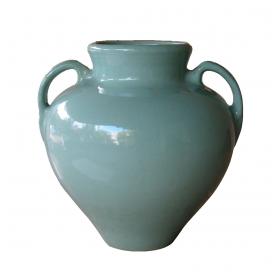 a large-scaled american pottery aqua-glazed double-handled urn