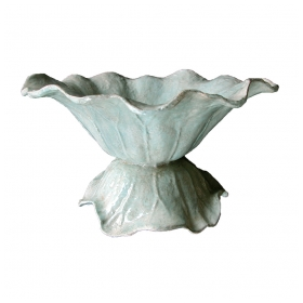 a delightful french celadon-enameled iron cabbage-form bowl