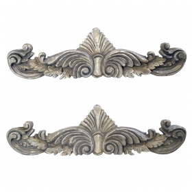 a curvaceous pair of american neoclassical style gray painted wooden anthemion wall carvings