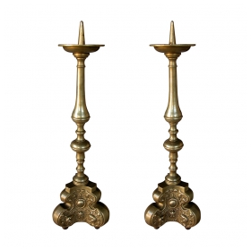 a finely-detailed pair of french baroque style chased brass baluster-form pricket sticks