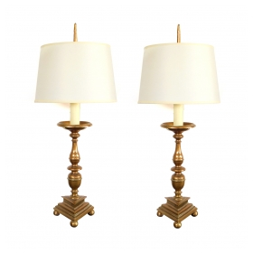 substantial pair of french baroque style bronze pricket sticks now mounted as lamps