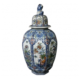 a massive belgian polychromed lobed octagonal ginger jar with lid surmounted by a regal lion; by boch frères keramis, la louvière, belgium