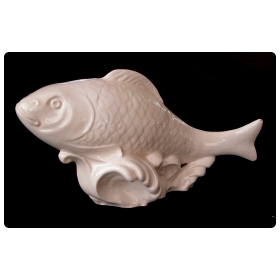 a lively and large-scaled italian mid-century ivory-glazed faience fish sculpture