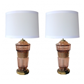 a good pair of bohemian art deco aubergine glass decagonal lamps with classical frieze; by Moser Glassworks