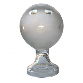 a curiously charming american mid-century frosted glass orb used as a bingo advertisement