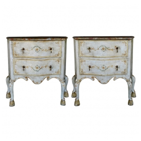 a curvaceous pair of portuguese rococo style polychromed 2-drawer commodes