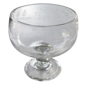 a large-scaled and thickly-modeled english clear glass compote with etched hunting scene; possibly by Stuart Glassworks