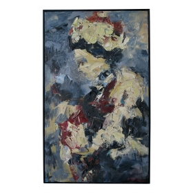 an expressive american mid-century abstract expressionist oil painting of a woman wearing a hat