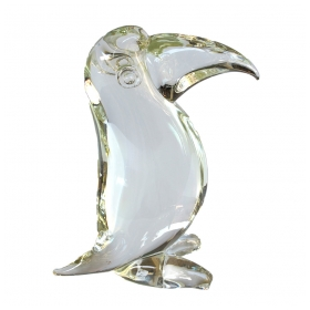 a delightful italian 1960's clear art-glass sculpture of a toucan