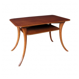 a stylish american mid-century rectangular walnut side table; maker's label 'widdicomb designed by th robsjohn gibbings'