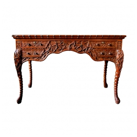 a rare chinese export 4-drawer teak writing desk with carved bamboo decoration
