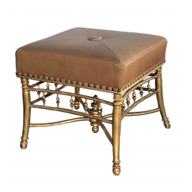 a good quality napoleon III carved giltwood square-form stool