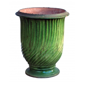 a large-scaled french green-glazed striated garden pot/urn