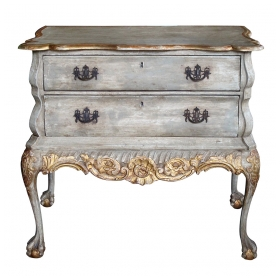 a shapely dutch rococo style grey-green painted and parcel-gilt bombé form 2-drawer chest