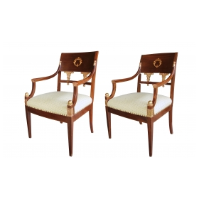 a handsome pair of danish neoclassical style mahogany and parcel-gilt armchairs with inlaid wreaths