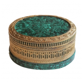 a finely-chased russian gilt-bronze and malachite oval covered jewel box