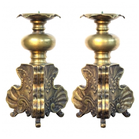 a robust pair of dutch baroque style brass pricket sticks