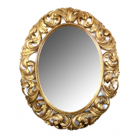a well-carved italian baroque style oval gilt-wood mirror