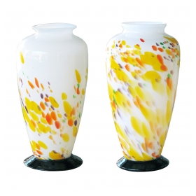 a whimsical pair of french 1970's hand-blown cased-glass vases with abstract decoration