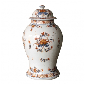 a boldly-scaled continental polychromed faience baluster-form covered ginger jar