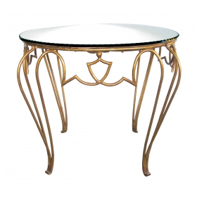 a chic french art deco gilt-iron circular Tables with mirrored top; by rene drouet