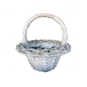 a boldly-scaled french faux basket-weave concrete jardinière with arching handle