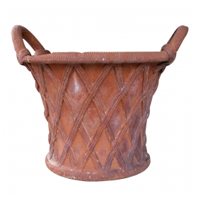 a unique and large-scaled english terracotta basket weave double-handled garden urn