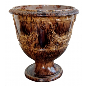 a handsome french brown-glazed anduze pot