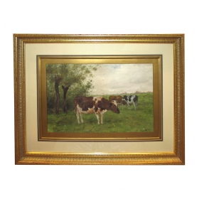 a serene dutch landscape watercolor painting of three cows grazing in a field; by  Adrianus Groenewegen 1874-1963 (Netherlands)