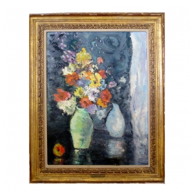 impressionist still life of flowers with fruit; probably american; unsigned but with frame plaque 'kashinski'
