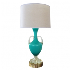 a richly-colored italian mid-century teal cased-glass double-handled urn-form lamp