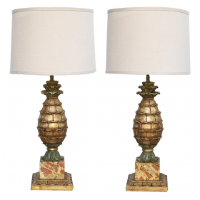 a well-executed pair of french painted and parcel-gilt carved wood pineapple-form lamps