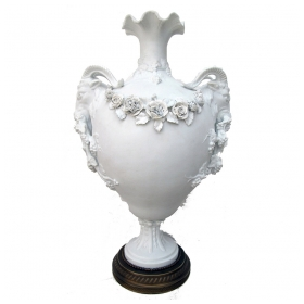 an exquisite english parian marble and bronze urn with rose garland and rams head handles