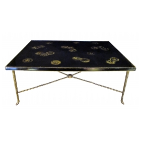 a rare and large french 1940's rectangular cocktail Tables with palmette gilt-bronze legs and chinoiserie lacquered top; by Maison Baguès, Paris