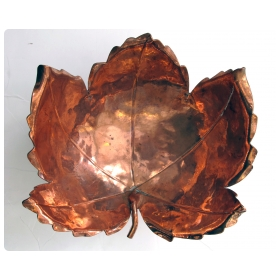 a beautifully rendered american hand-wrought copper maple leaf-form bowl by alfredo sciarrotta b. 1907 d. 1985; stamped: 'sciarrotta hand made, newport ri'