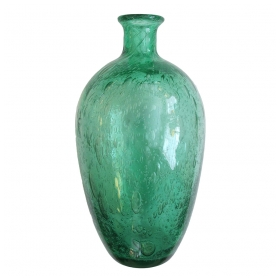 a thickly-modeled and boldly-scaled french art deco emerald green art glass bottle-form bubble vase; attributed to Charles Schneider