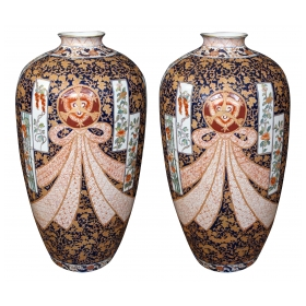 a large and well-executed pair of french samson polychromed porcelain ovoid vases in the chinese taste; with typical pseudo Chinese markings